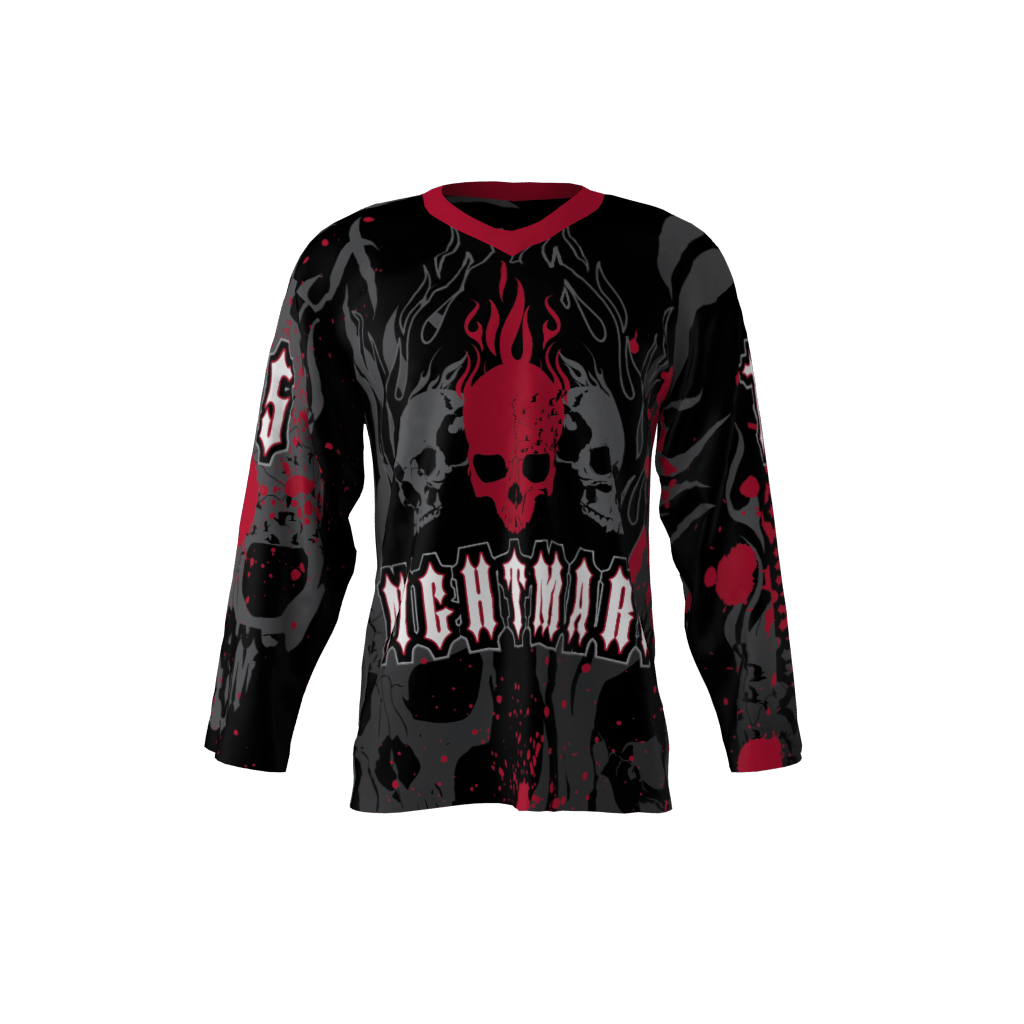 New Jersey Nightmare Black Custom Roller Hockey Jersey c53b22d0e19