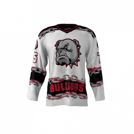 Bulldogs White Custom Hockey Jersey