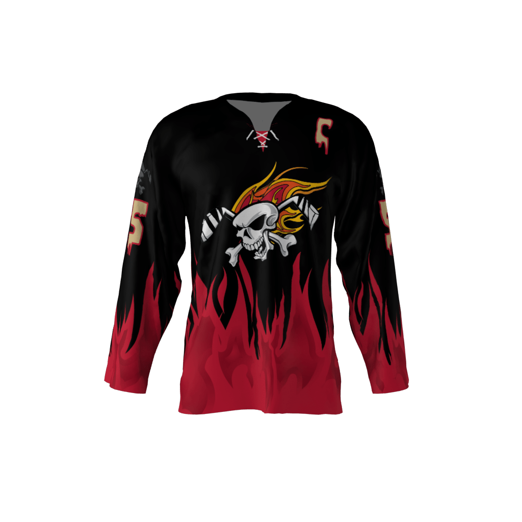 Wings Plus Black Custom Hockey Jersey