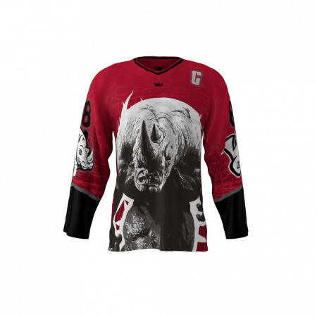 Albino Rhinos Red Custom Hockey Jersey