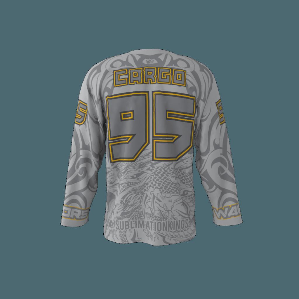 7a30a6967 Warriors Gray Custom Roller Hockey Jersey
