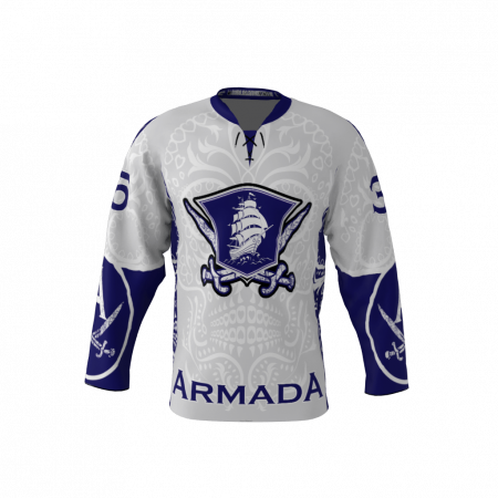 Armada White Custom Dye Sublimated Hockey Jersey