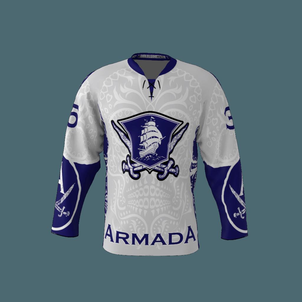 Armada White Custom Dye Sublimated Hockey Jersey ee08a42e3f0