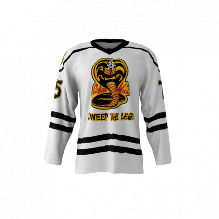 Cobra Kai White Custom Dye Sublimated Hockey Jersey