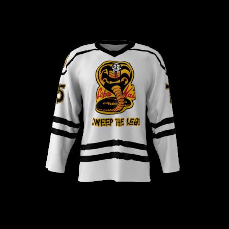 Cobra Kai White Custom Dye Sublimated Hockey Jersey