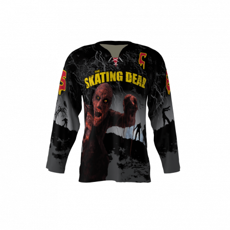 Skating Dead Black Custom Dye Sublimated Hockey Jersey