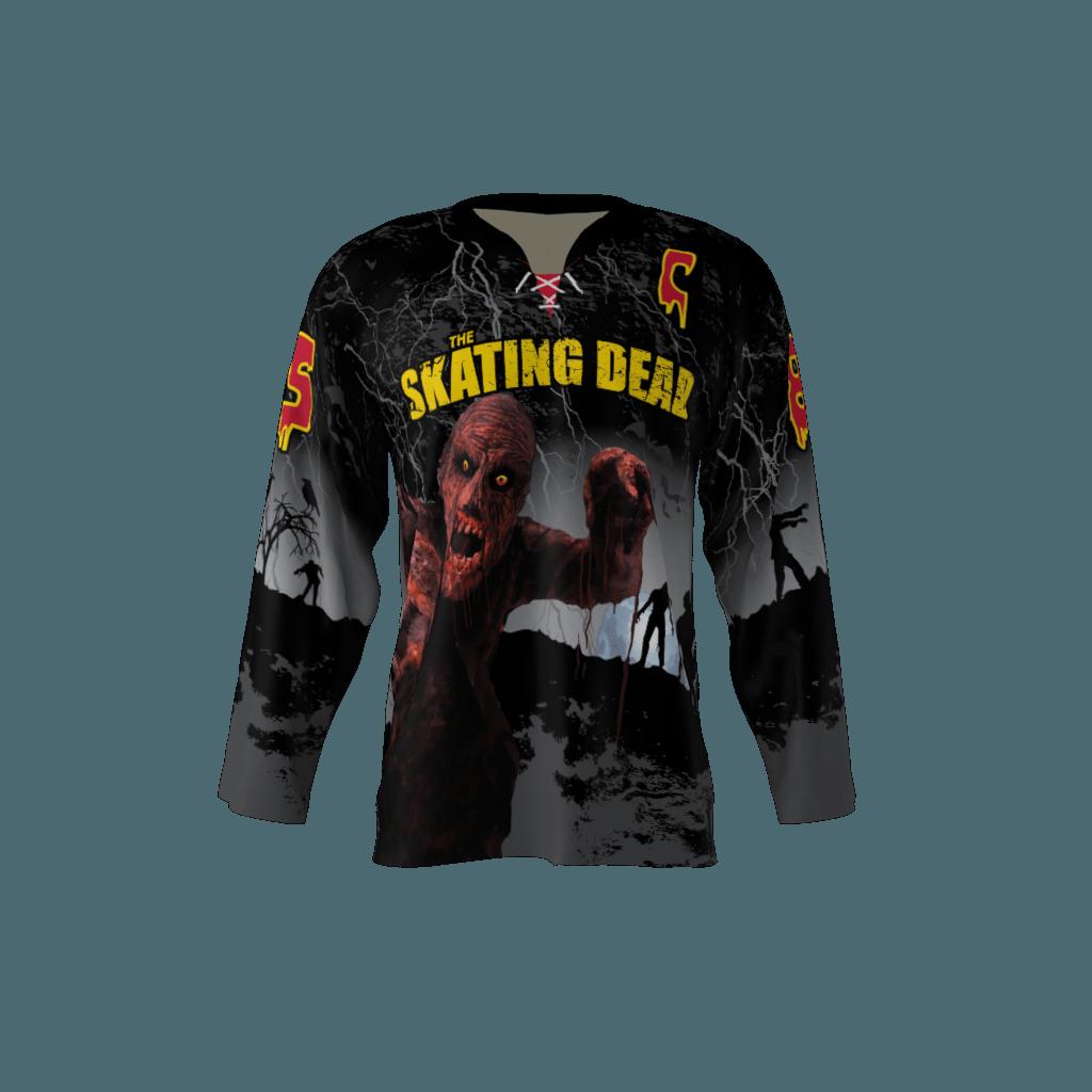 Skating Dead Black Custom Dye Sublimated Hockey Jersey b9c3afbeda1
