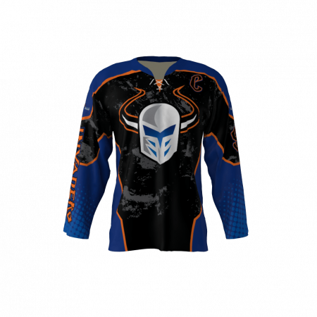 Invaders Blue Custom Dye Sublimated Ice Hockey Jersey