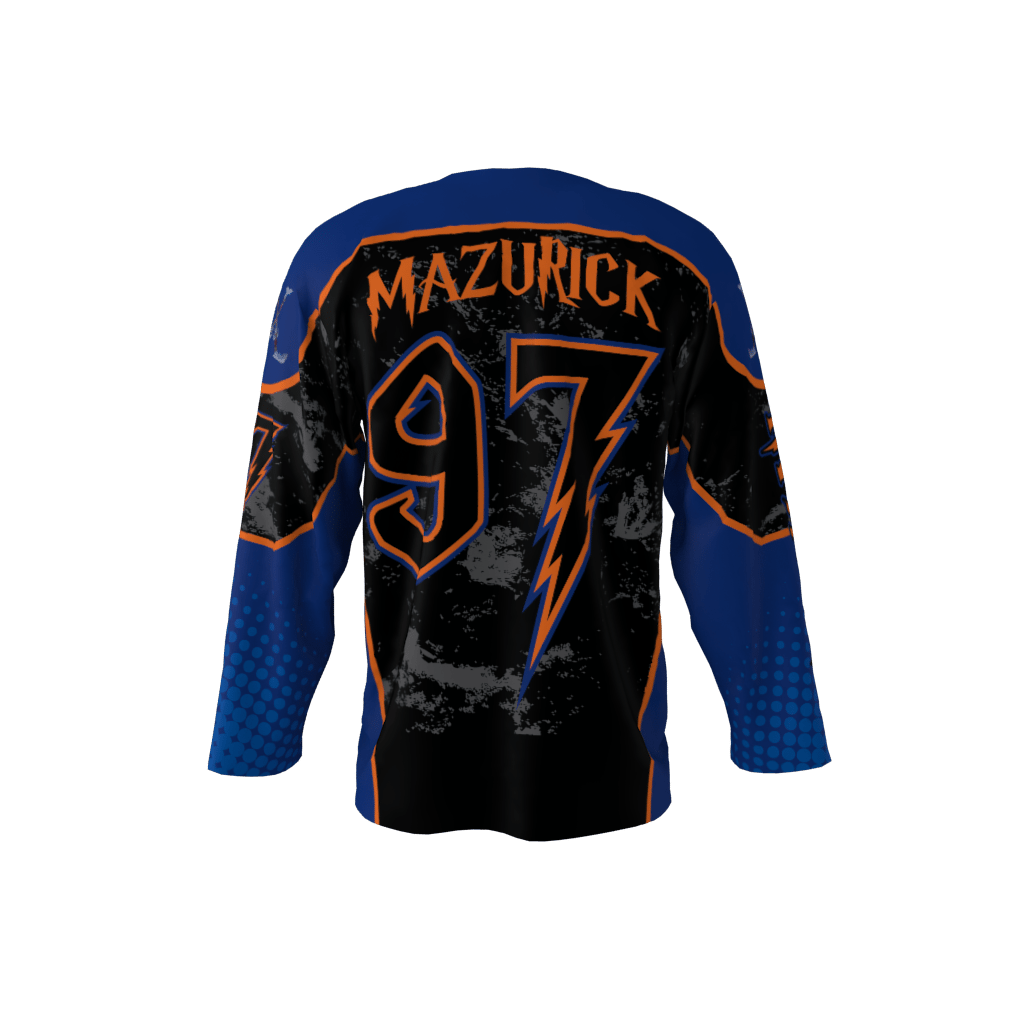 Invaders Blue Custom Dye Sublimated Ice Hockey Jersey 22fd6b409aa