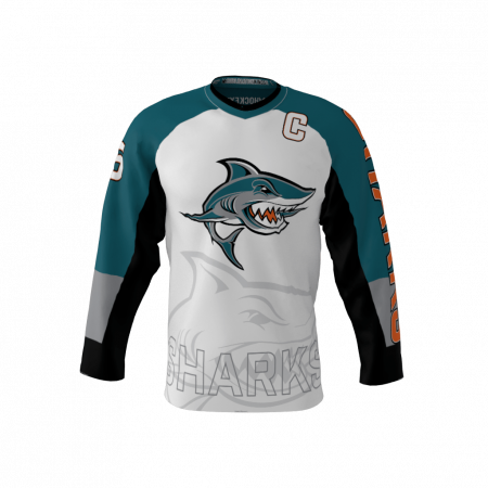 Sharks Custom Dye Sublimated Roller Hockey Jersey