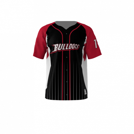 Bulldogs Custom Dye Sublimated Full Button Baseball Jersey