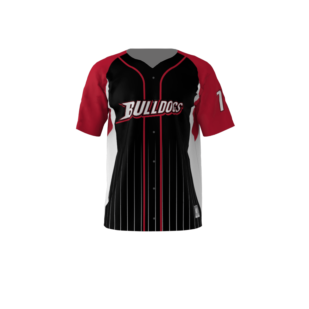 be298047 Bulldogs Custom Dye Sublimated Full Button Baseball Jersey