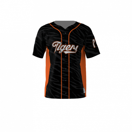 Tigers Custom Dye Sublimated Full Button Baseball Jersey