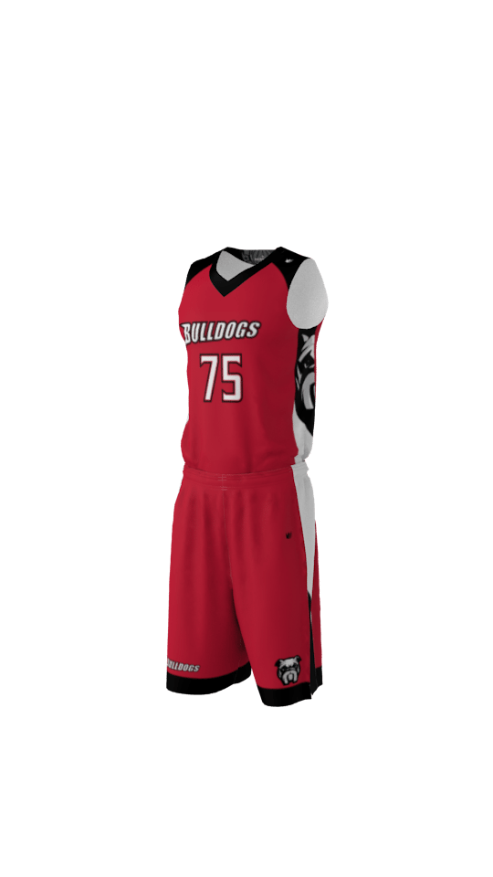 4cc61ed78048 Bulldogs Custom Dye Sublimated Basketball Uniform